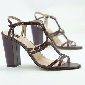 "WHBM ""Prolly"" Leather Studded Sandal Heels EUC, 9"
